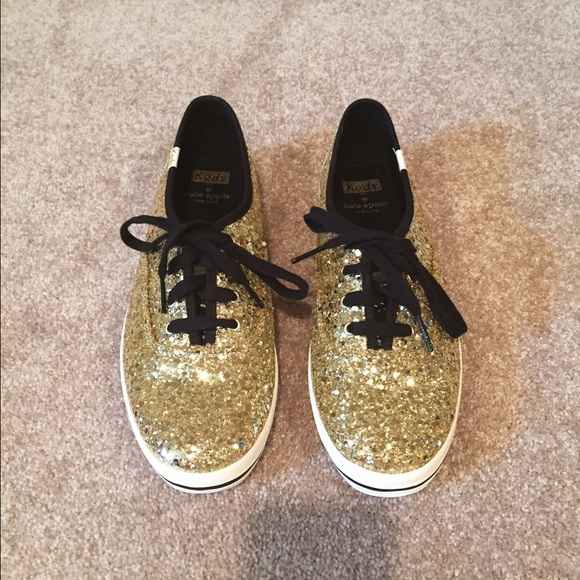 kate spade Shoes - Kate Spade Gold Glitter Keds Size 9