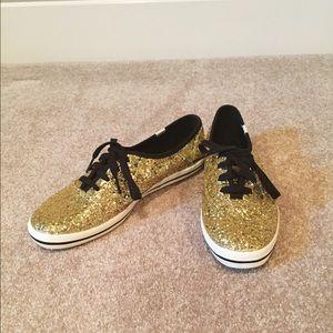kate spade Shoes - Kate Spade Gold Glitter Keds Size 9