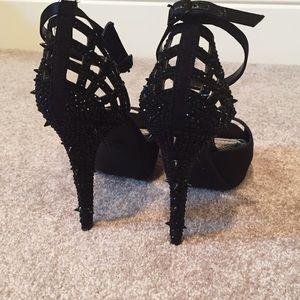 Gianni Bini Shoes - Size 9 Gianni Bini Spiked Black Rhinestone Heels