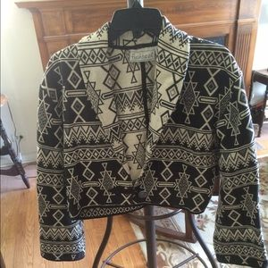 Festival Boho Ethnic Black Ivory Crop Jacket Top