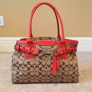 Coach Handbags - Coach Monogram Print Red Trim