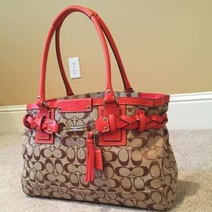 Coach Bags - Coach Monogram Print Red Trim