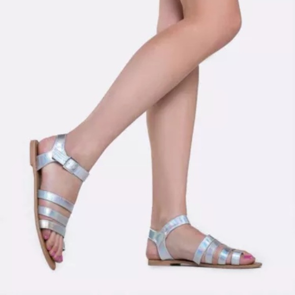 ae6875544e09 Qupid Strappy Iridescent Sandals