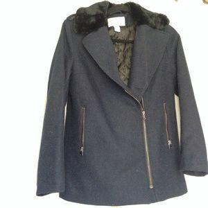 Navy Wool H&M Moto Jacket