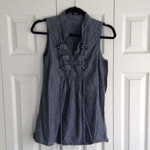 Tops - dark chambray military style top