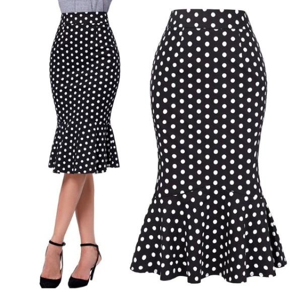 Polka dot fishtail dress images