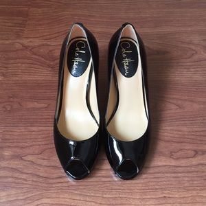 Cole Haan Patent Leather Peep-toe Pumps