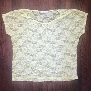 Yellow Forever 21 Lace Top - Size Large