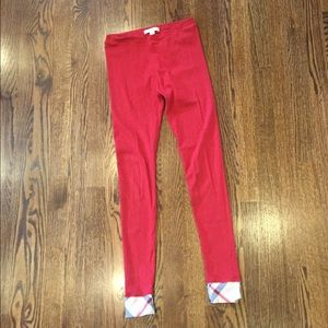 Authentic Burberry plaid red leggings 12 girls 2