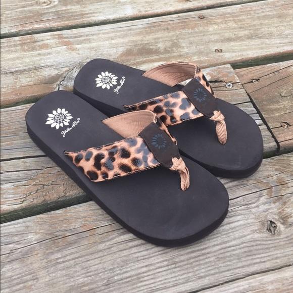 yellow box leopard flip flops Shop