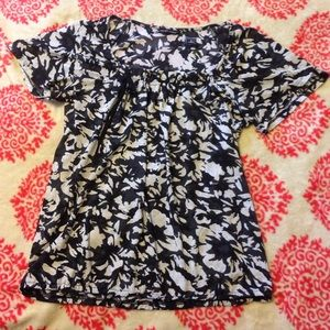New York & Company Tops - Black Floral Print Top