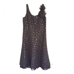 WDNY Dresses & Skirts - Black polka dot dress w/ruffled bottom