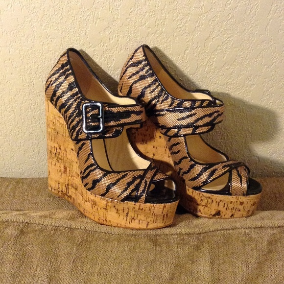 5f9e1378a82 Christian Louboutin Shoes - CHRISTIAN LOUBOUTIN Animal Print Cork Wedges