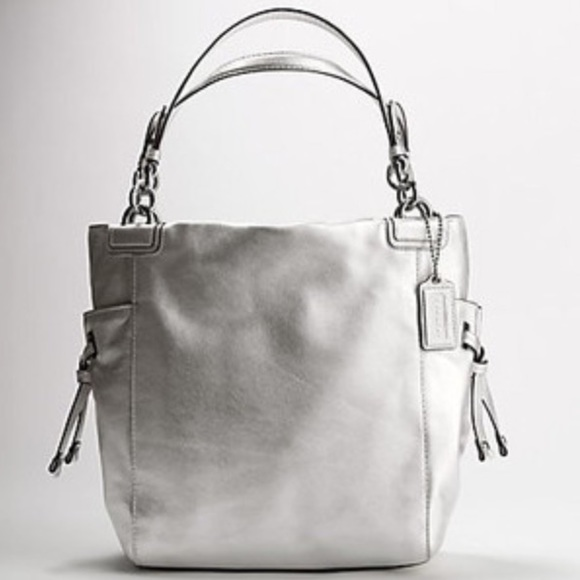 88% off Coach Handbags - 1 DAY SALE Coach Silver/Rose Gold Leather ...