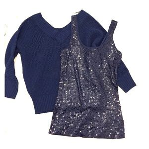 Express navy blue sweater with sequin tank