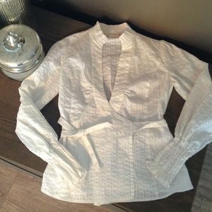 DKNY white shirt with silver pin stripes