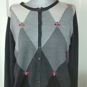 Christopher & Banks argyle cardigan sweater