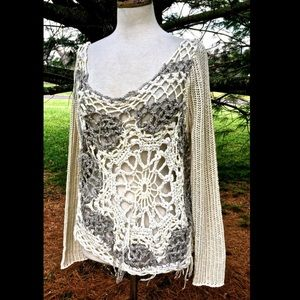 Free People ivory Snowflake in Crochet Sweater S