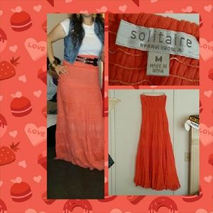 Bright orange tube dress skirt size M by solitaire