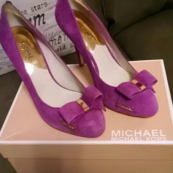 0fa7e03f3cb3 Authentic MK Suede Heels - Pomegranate Color
