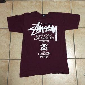 Stussy Tops - Stussy burgundy t shirt size small 24f113ba8