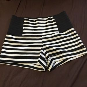 High waisted stripe shorts