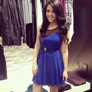 H&M Dresses & Skirts - Cobalt Blue Dress With Black Sheer