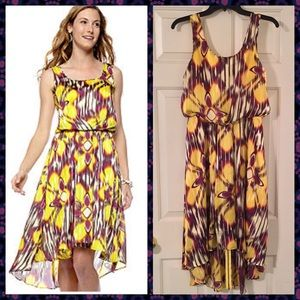 Vince Camuto Dresses & Skirts - Vince Camuto Yellow Stripe Floral Print Dress.