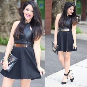 Dresses & Skirts - Black Faux Leather Skater Dress