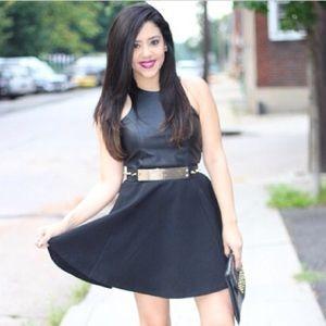 Dresses - Black Faux Leather Skater Dress