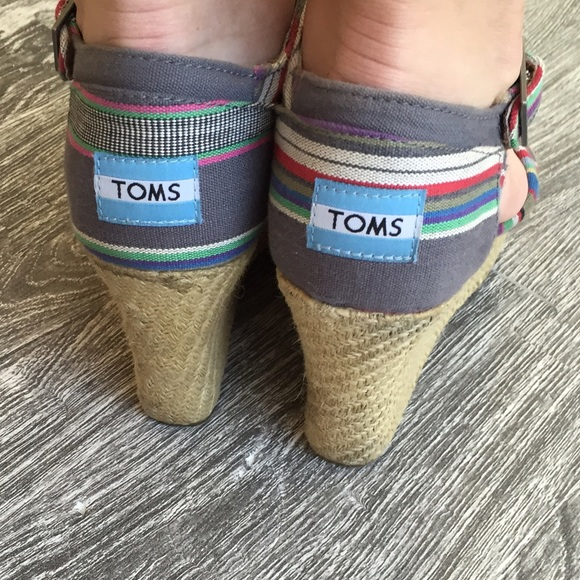 78 off toms shoes toms striped espadrille wedges from angela s