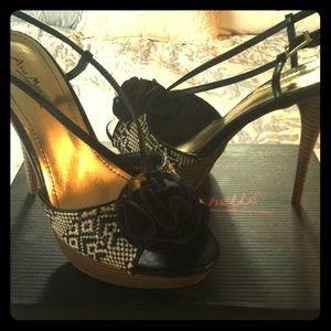 Black white tan heels stilleto shoes sandals