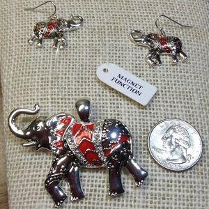 Silver tone Elephant Pendant / Pierced Earrings.