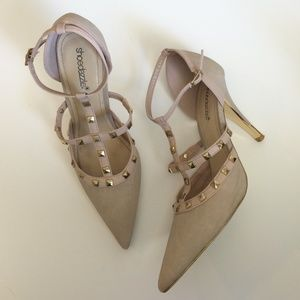 Shoe Dazzle Shoes - Nude Gold Studded Strappy Heels