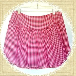 Red & White Gingham Checkered Skirt w/ Pockets