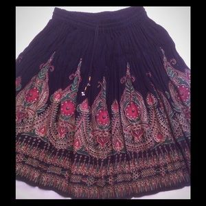 I. K Collection Dresses & Skirts - Black cotton skirt Silkscreen painted Gold, red
