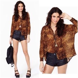 UNIF Tops - == UNIF leopard open shoulder button shirts ==