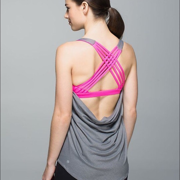 eb2c111306fa2 lululemon athletica Tops - Lululemon Wild Tank - grey stripe  hot pink bra