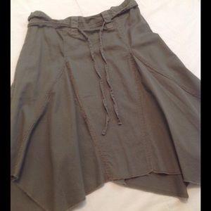 First Kiss Dresses & Skirts - Asymmetrical dark olive skirt