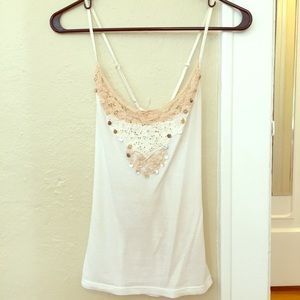 Free People Tank with lace & pearl bead details