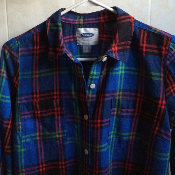 46 off old navy tops old navy plaid flannel bold blue for Navy blue and red flannel shirt
