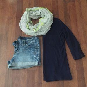 Grey & Neon green infinity scarf