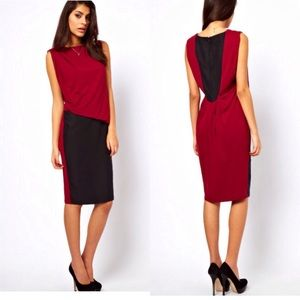 Dresses & Skirts - == ASOS grey/navy pencil dress with drape NWT ==