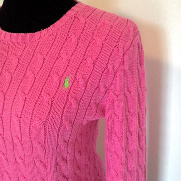 Polo by Ralph Lauren - 🌸Polo Pink Cable Knit Lime Green Logo ...
