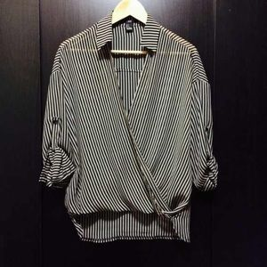 Forever 21 black and cream striped blouse