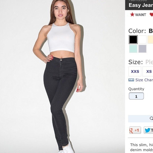 96% off American Apparel Pants - SWAP ONLY! AA black easy jeans ...