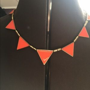 Bright orange triangle statement necklace