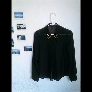 Black sheer blouse with gold studded collar