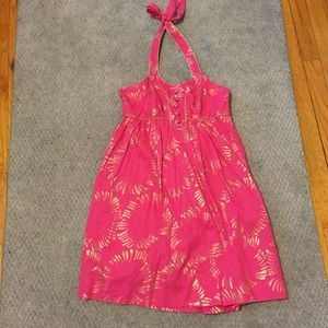 Hot pink with gold summer dress