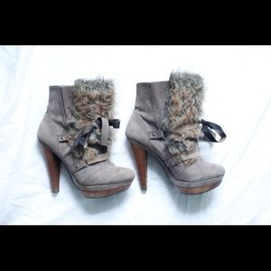 Aldo Lace Up Fur Booties